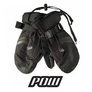 Pow Black Winter Mittens w. Floral Leather Design